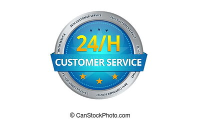 24 hours Customer Service Sign - A blue animated 24 hours...