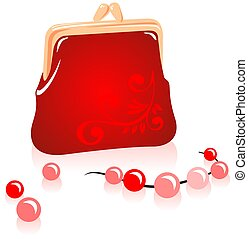 handbag and beads - Red female handbag and pearl necklace on...