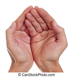 hands begging - man hands begging on a white background
