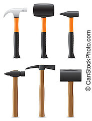 tool hammer with wooden and plastic handle vector...