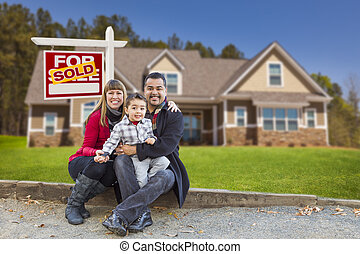 Mixed Race Family, Home, Sold For Sale Real Estate Sign -...