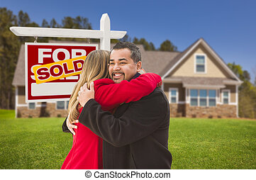 Mixed Race Couple, House, Sold Real Estate Sign