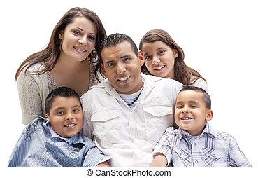 Happy Attractive Hispanic Family Portrait on White - Happy...