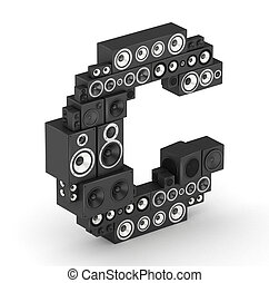 Letter C from speaker in isometry - Letter C from black...