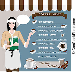 Coffee menu with a cup, coffee girl