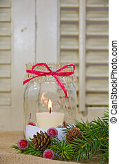 Christmas mason jar - Candle in mason jar with pine and...