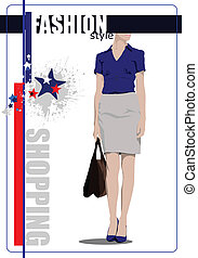 Cute shopping lady poster. Vector c