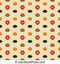 Lips Vector Seamless Pattern - Hipster Lips Vector Seamless...