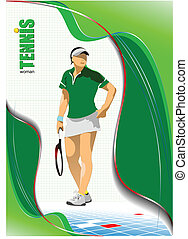 Woman Tennis player poster. Colored
