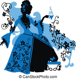 Graphic silhouette of a rococo woman with a cap of coffee....