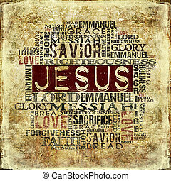 Jesus Religious Background - Religious Words on Grunge...