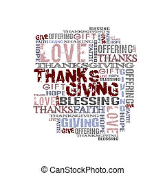 Giving Thanksgiving - Words on white background