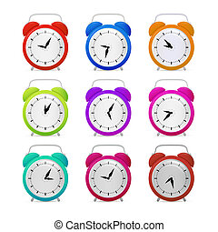 Colorful Alarm Clock Set Isolated on White Background
