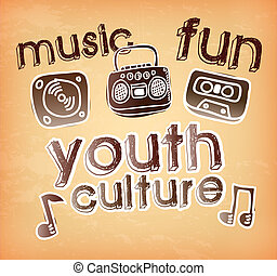 youth culture over vintage   background vector illustration