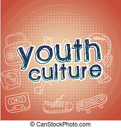 youth culture over pink   background vector illustration