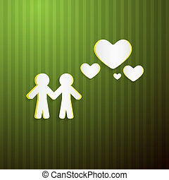 Vector Paper People and Hearts on Green Cardboard