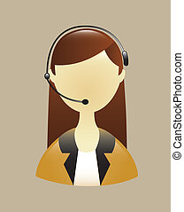 receptionist with phone over beige background vector...