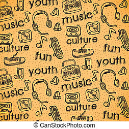 youth culture over rustic  background vector illustration