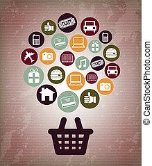 ecommerce design over vintage background vector illustration...