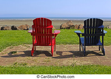 Beach Chairs Blue Red Summer Scene - Red and blue Adirondack...