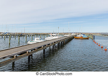 Marina harbor with wooden jetty near Goteborg, Sweden
