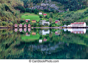 Lake and fishing hut scenery, Flam - Scenic View of lake and...