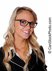 Pretty Businesss Woman wearing specs and a lovely smile