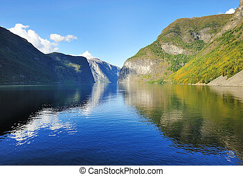Scenic view of Fjord in Norway - Sunny day scenery view of...