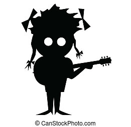 Solo Singer - Silhouette of a cartoon character duo with...