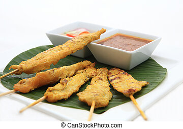 Barbecued Pork satay with Peanut Sauce