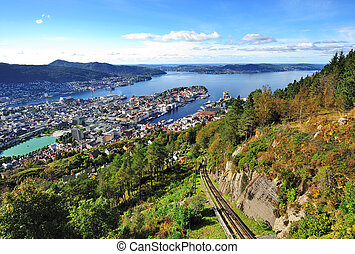 Mt. Floyen and funicular railway - City of Bergen from Mt....