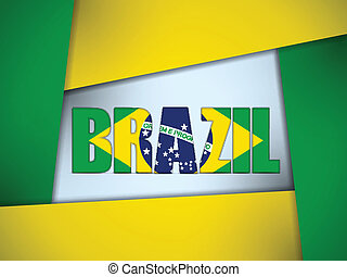 Brazil 2014 Letters with Brazilian Flag - Vector - Brazil...