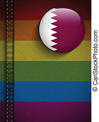 Gay Flag Button on Jeans Fabric Texture Qatar - Vector - Gay...