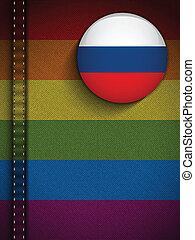 Gay Flag Button on Jeans Fabric Texture Russia - Vector -...