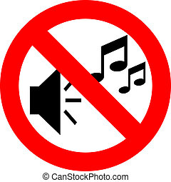 No music sign isolated on white