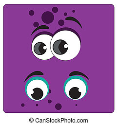 big eyes - two big eyes with different colors in a purple...