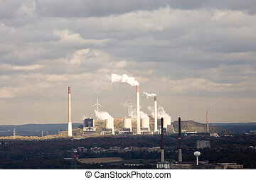 Coal power station and wind turbine generators