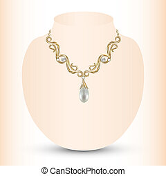 golden feminine necklace with pearl pendants
