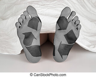 Dead body under a white sheet, concept of sleeping or death,...