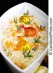 Salt bath with soap and flowers