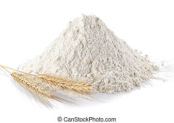 Wheat flour - Heap of wheat flour and wheat ears on isolated...