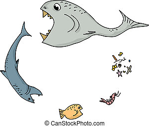 Ocean Food Chain Cartoon - Cartoon of ocean food chain over...