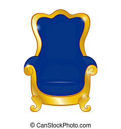 Old blue antique armchair on a white background