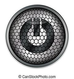 Silver button start, vector