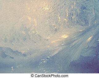 Frosted window - Frost patterns on winter window, cross...