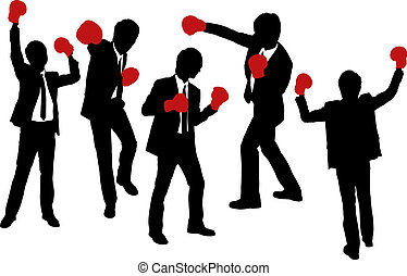 Silhouettes of Businessmen wearing boxing gloves in a...