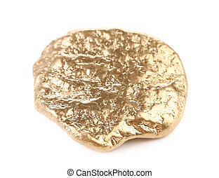 Close up of gold nugget. Isolated on white background.