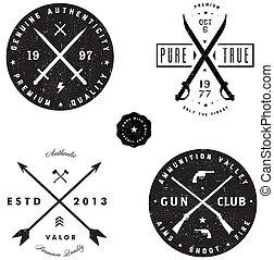 vector, arma de fuego, espada, logotipo, insignia, Conjunto