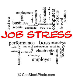Job Stress Word Cloud Concept in Red Caps with great terms...