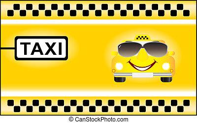cartoon car on taxi background